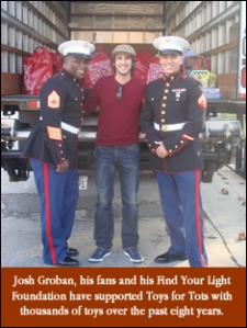 Josh Groban with U.S. Marines. Photo courtesy of Toys for Tots.