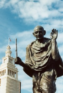 Gandhi in San Francisco saying hello